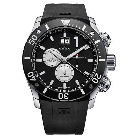エドックス 腕時計 クラスワン クロノオフショア 10020 3 NIN3 ブラック×ブラックラバー
