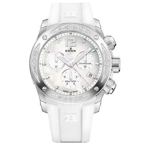 エドックス 腕時計 クラスワン クロノレディー 10411 3D28 NAIN ホワイト×ホワイトラバー