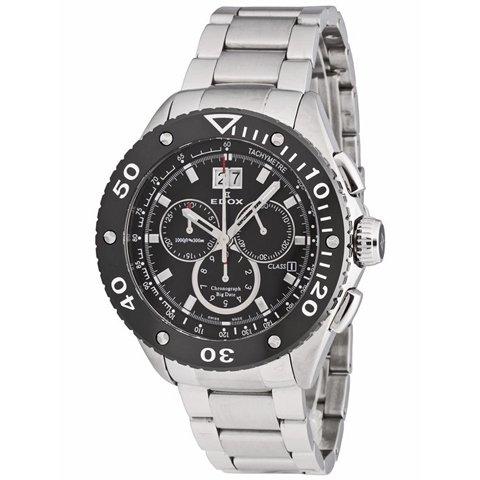 エドックス 腕時計 クラスワン ビッグデイト 10017 3 NIN2 ブラック×ステンレススチール