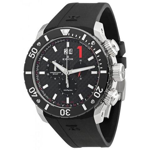 エドックス 腕時計 クラスワン クロノオフショア 10020 3 NIN ブラック×レッド×ブラックラバー