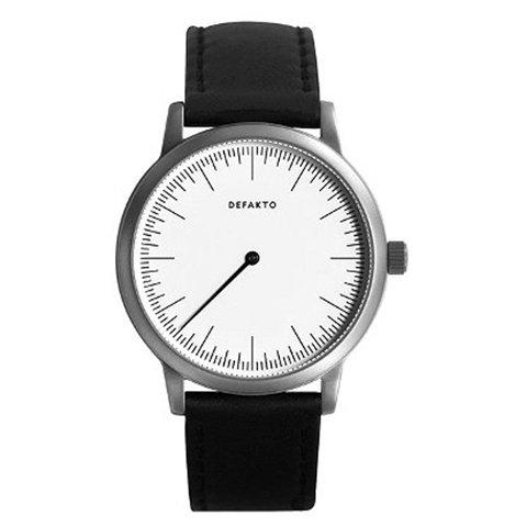 Defakto (ディファクト) 腕時計 DETAIL MONO ワンハンドウォッチ ホワイト×ブラックレザーベルト