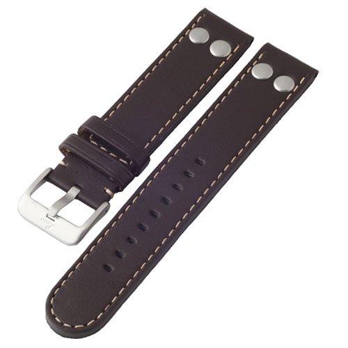 ラコ 腕時計 替えベルト 401875.XL 幅22ミリ ダークブラウンカーフレザーベルト