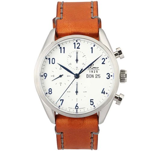 ラコ 腕時計 国内正規品 シカゴ 861584 LACO50自動巻 ホワイト×コニャックレザーベルト