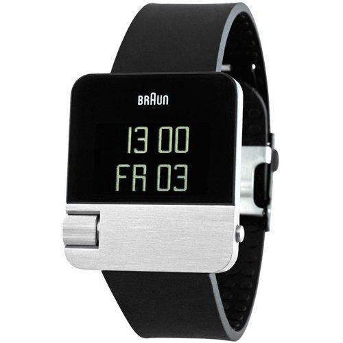 ブラウン|Braun 時計/デジタルウォッチ/レトロデザイン/BN0106SLBKG/ブラック×シルバー×ブラックラバーベルト