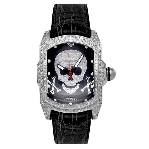アクアマスター/Aqua Master 時計 W63 スカル ブラックダイアル×ブラックレザーベルト