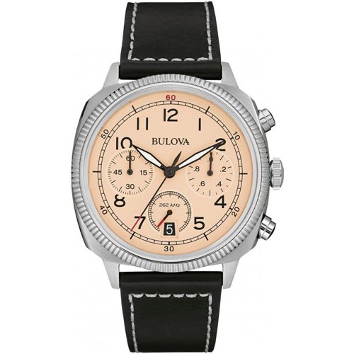 ブローバ 腕時計 ミリタリー UHFコレクション クリーム×ブラックレザーベルト