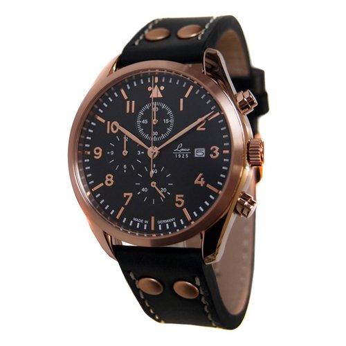 ラコ 腕時計 国内正規品 クロノグラフ プラハ 861905 ブラック×ローズゴールド×ブラックレザーベルト