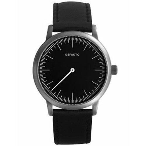 Defakto (ディファクト) 腕時計 DETAIL MONO ワンハンドウォッチ ブラック×ブラックレザーベルト