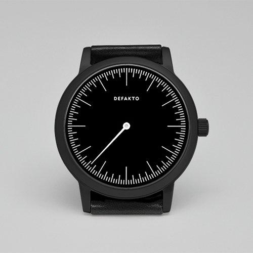 Defakto (ディファクト) 腕時計 DETAIL MONO ワンハンドウォッチ ブラックPVD×ブラックレザーベルト