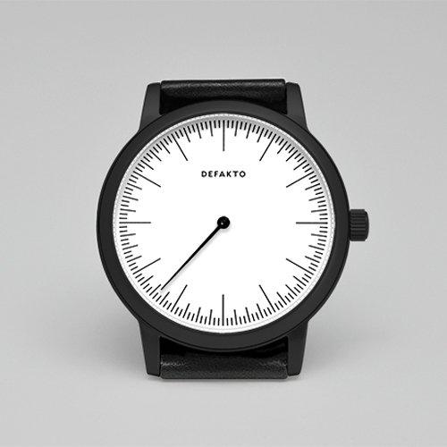 Defakto (ディファクト) 腕時計 DETAIL MONO ワンハンドウォッチ ホワイト×ブラックPVD×ブラックレザーベルト