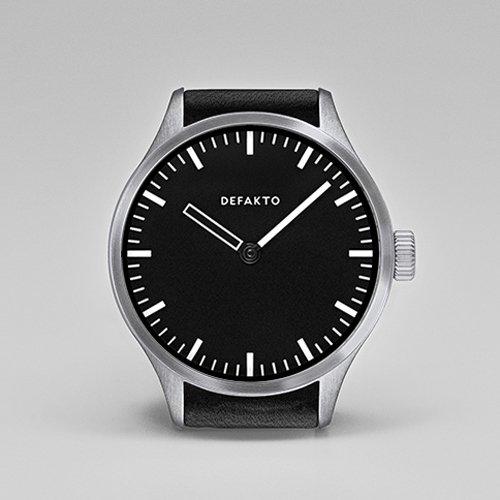 Defakto(ディファクト) 腕時計 オートマチック AKKORD 4.Akk-1101 ブラック×シルバー×ブラックレザーベルト