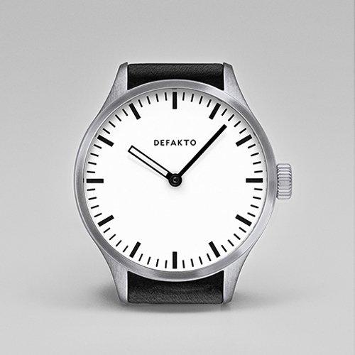 Defakto(ディファクト) 腕時計 オートマチック AKKORD 4.AKK-1201 ホワイト×シルバー×ブラックレザーベルト