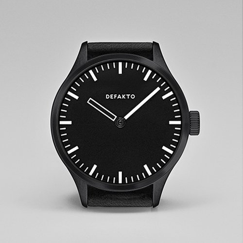 Defakto(ディファクト) 腕時計 オートマチック AKKORD 4.AKK-0101-SW ブラックPVD×ブラックレザーベルト