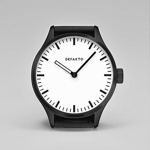 Defakto(ディファクト) 腕時計 オートマチック AKKORD 4.AKK-0201-SW ホワイト×ブラックPVD×ブラックレザーベルト