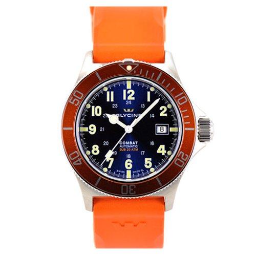 グライシン時計/Glycine/コンバットサブ/3863.18AT-D6/ブルーダイアル×オレンジラバーベルト