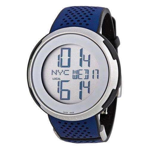 グッチ 腕時計 I-グッチ YA114105 デジタルダイアル×ブルーラバーベルト