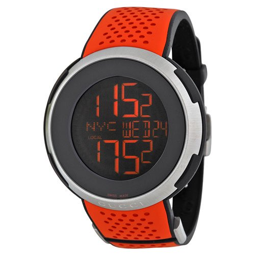 グッチ 腕時計 I-グッチ YA114104 デジタルダイアル×オレンジラバーベルト
