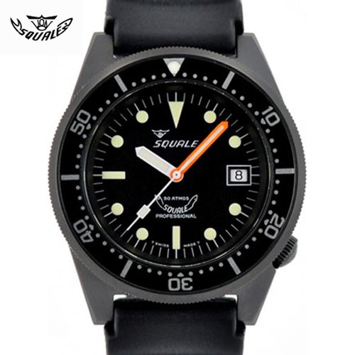 スクワーレ/腕時計/1521コレクション/1521-026PVD/ダイバーズ/ブラックPVD/ブラックラバーベルト