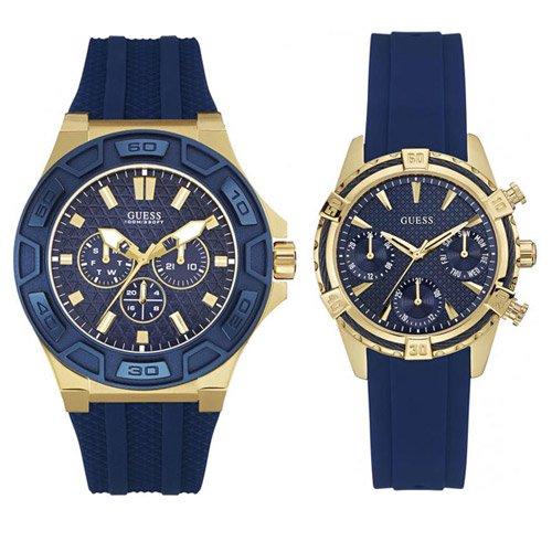 ゲス 腕時計 ペアウォッチ W0674G2 W0562L2 ネイビーダイアル×ネイビーラバーベルト