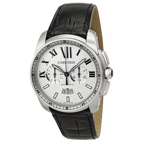 カルティエ 腕時計 メンズ カリブル ドゥ カルティエ W7100046 シルバー×ブラックレザーベルト