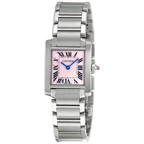 カルティエ 腕時計 タンク フランセーズ W51028Q3 ピンクシェル×ステンレススチールベルト