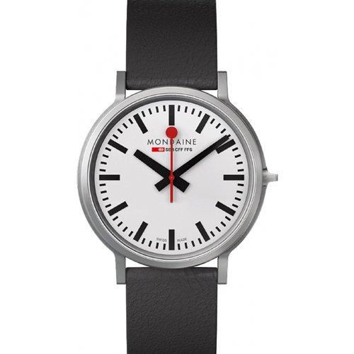 モンディーン 腕時計 メンズ ストップトゥーゴー A512-30358-16SBB ホワイト×ブラックレザーベルト
