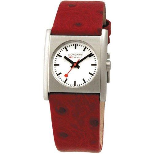 モンディーン 腕時計 レディース エヴォ キューブ A658-30320-26SBC ホワイト×レッドレザーベルト