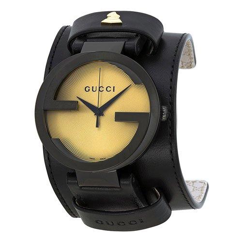 グッチ 腕時計 メンズ インターロッキング YA133202 ゴールドダイアル×ブラックレザーベルト