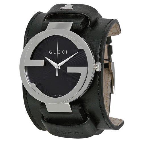 グッチ 腕時計 メンズ インターロッキング YA133203 ブラックダイアル×ブラックレザーベルト