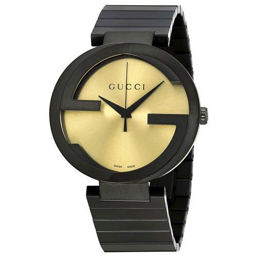 グッチ 腕時計 メンズ インターロッキング YA133209 ゴールドダイアル×ブラックステンレスベルト
