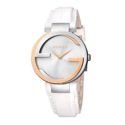 グッチ 腕時計 レディース インターロッキング YA133303 シルバーダイアル×ホワイトレザーベルト