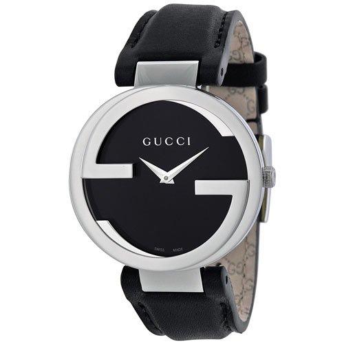 グッチ 腕時計 レディース インターロッキング YA133301 ブラックダイアル×ブラックレザーベルト
