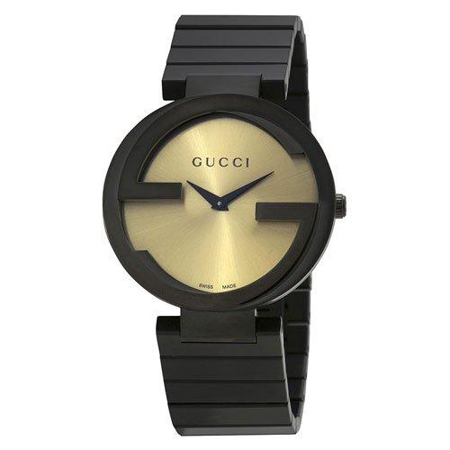 グッチ 腕時計 レディース インターロッキング YA133314 ゴールドダイアル×ブラックステンレスベルト