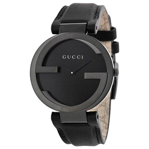 グッチ 腕時計 レディース インターロッキング YA133302 ブラックダイアル×ブラックレザーベルト
