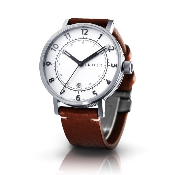 ブラヴア 腕時計 BW001S-W-LBR1 ホワイト×ブラウンレザーベルト