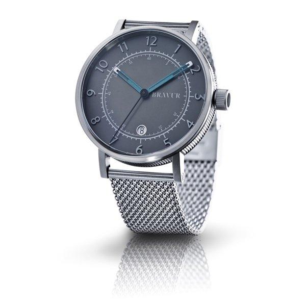 ブラヴア 腕時計 BW001S-G グレー×シルバーメッシュベルト