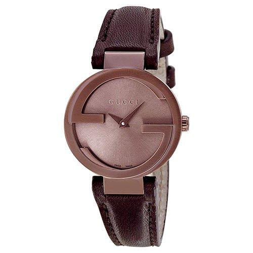 グッチ 腕時計 レディース インターロッキング YA133504 ブラウンダイアル×ブラウンレザーベルト