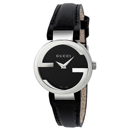 グッチ 腕時計 レディース インターロッキング YA133501 ブラックダイアル×ブラックレザーベルト