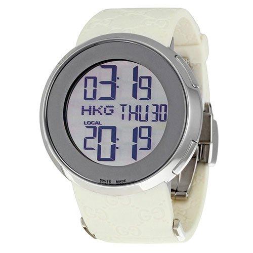 グッチ 腕時計 レディース I-グッチ YA114403  デジタルダイアル×ホワイトラバーベルト