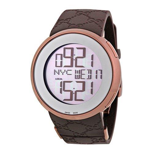 グッチ 腕時計 I-グッチ デジタル YA114209 デジタルダイアル×ブラウンラバーベルト