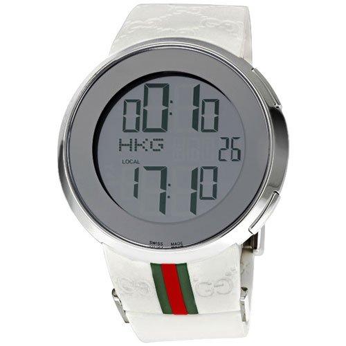 グッチ 腕時計 I-グッチ デジタル YA114214  デジタルダイアル×ホワイトラバーベルト
