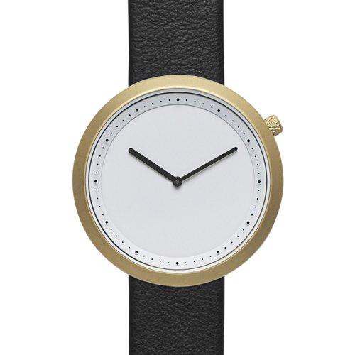 ブルブル 腕時計 Facette 06 ホワイト×ゴールドケースブラックレザーベルト
