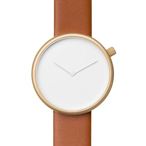 ブルブル 腕時計 Ore 05 ホワイト×ゴールドケース×ブラウンレザーベルト