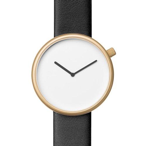 ブルブル 腕時計 Ore 07 ホワイト×ゴールドケース×ブラックレザーベルト