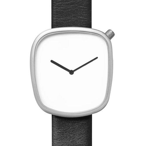 ブルブル 腕時計 ペブル02 ホワイト×ブラックレザーベルト