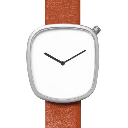 ブルブル 腕時計 ペブル03 ホワイト×ブラウンレザーベルト