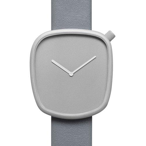 ブルブル 腕時計 ペブル04 グレー×グレーレザーベルト