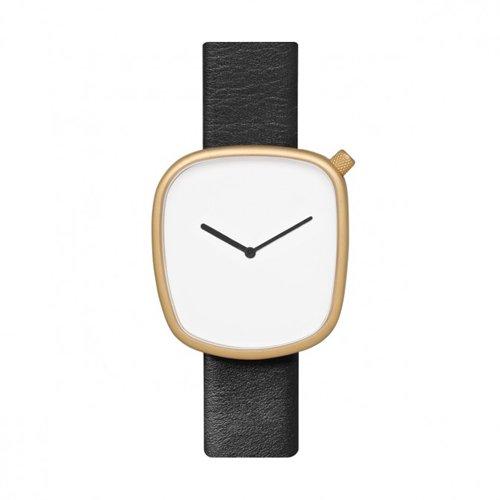 ブルブル 腕時計 ペブル07 ホワイト×ゴールドケース×ブラックレザーベルト