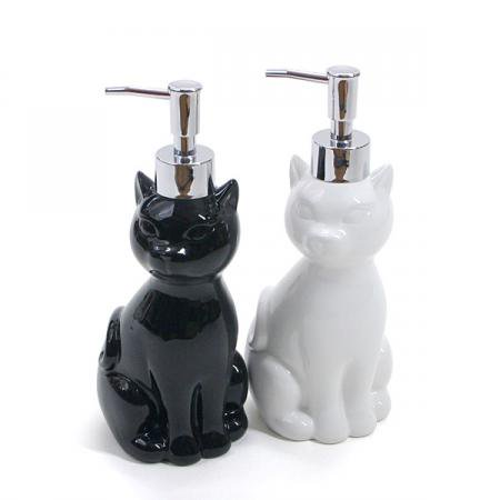 キャットディスペンサー (シャンプー&リンスボトル)【黒猫・白猫】(猫グッズ)