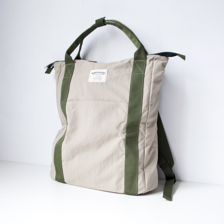 "WONDER BAGGAGE ワンダーバゲージ / Relax sack tote 2 : beige ベージュ"" style="